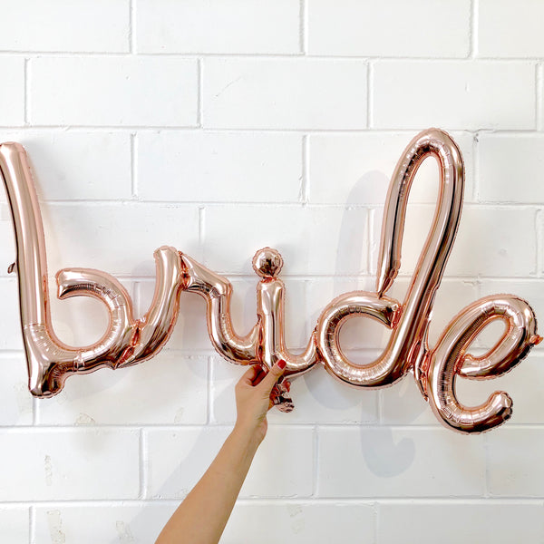Foil Rose Gold Script 'bride' Balloon