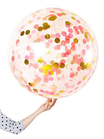 JUMBO Clear Pink Shimmer Confetti Filled Balloon