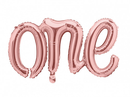 Foil Rose Gold Script 'One' Balloon