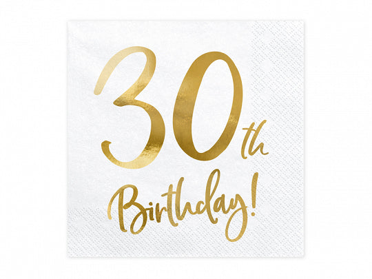 30th Birthday Gold Foiled Paper Napkins