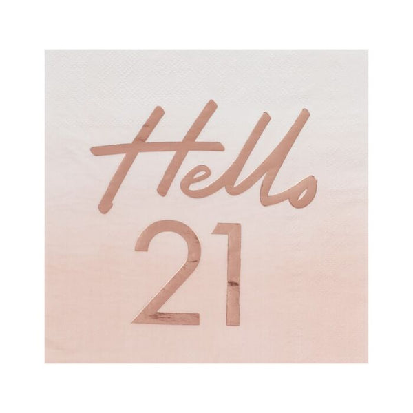 Hello 21 Rose Gold Foiled Paper Napkins