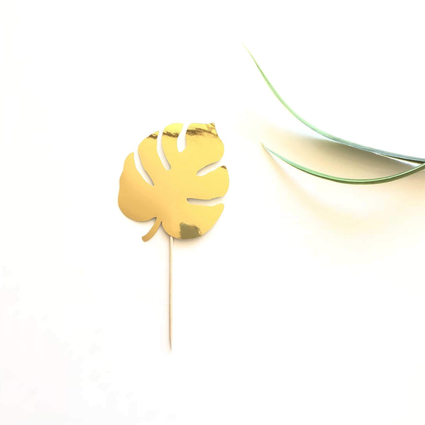 Monstera Leaf Cake Topper - Gold Metallic