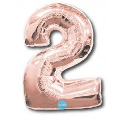 Foil Rose Gold 100cm Number 2 Balloon
