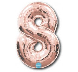 Foil Rose Gold 100cm Number 8 Balloon