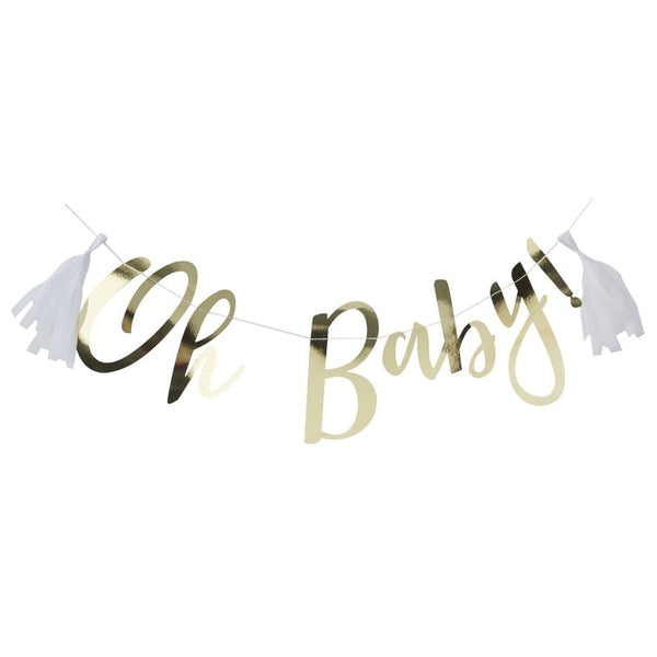 'Oh Baby' Gold Script Bunting