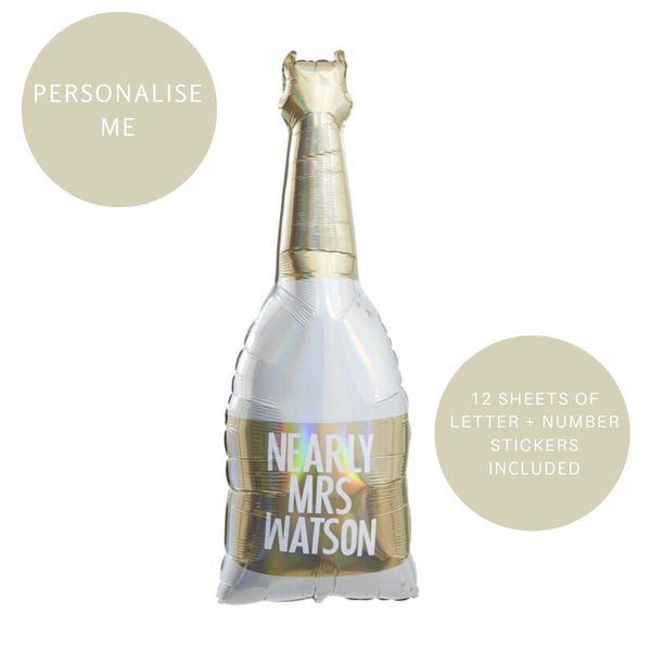 Gold Foiled Customisable Champagne Bottle Shape Balloon