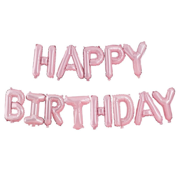 Pastel Matte Pink Foil 'Happy Birthday' Balloon Bunting