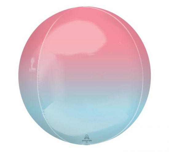 Ombré 40cm Shiny Orbz Balloon - Red + Blue