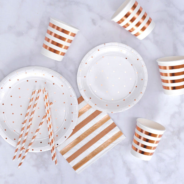 Rose Gold Spot + Stripe Beverage Napkins