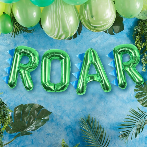 Foil Green 'ROAR' Dinosaur Party Balloon - Roarsome