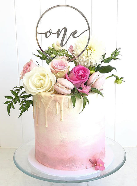 'One' Circle Cake Topper - Gold or Rose Gold