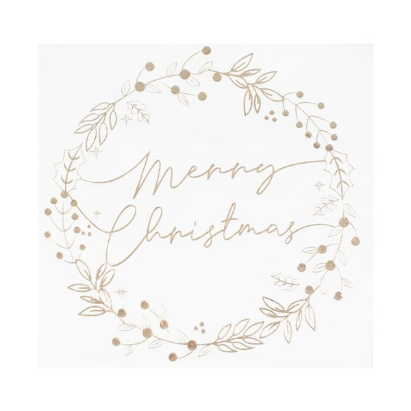 Gold Foiled Merry Christmas Wreath Christmas Napkins