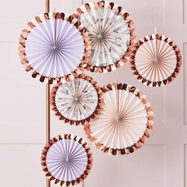 Pastel and Floral Paper Fan Set