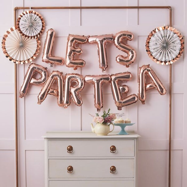 Rose Gold 'LET'S PARTEA' Balloon Bunting