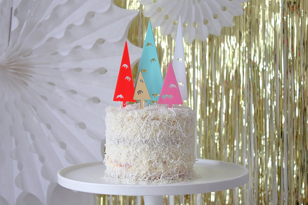 BOTTLE BRISTLE TREES - Cake Topper set