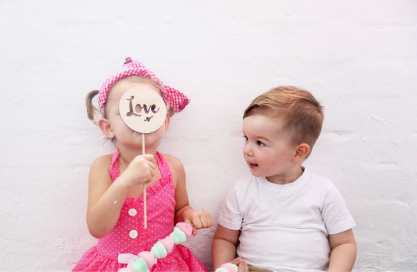 Round Wooden 'Love'  Cake Topper