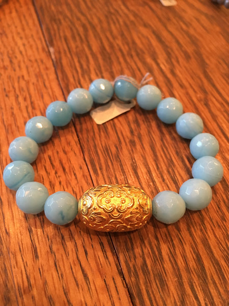 Powder Blue Bracelet with Filagree Finding