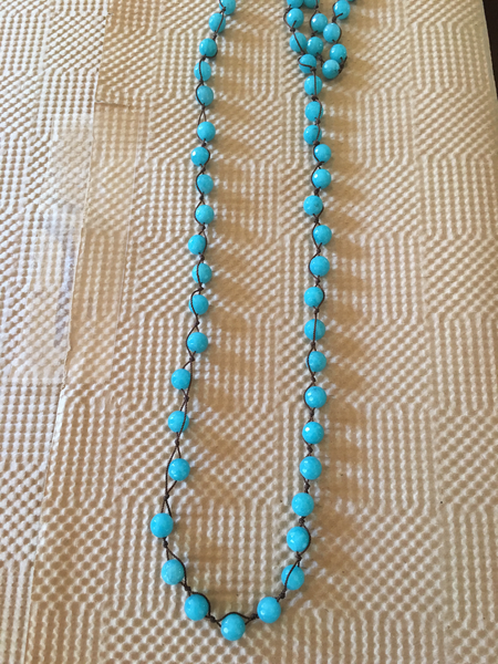 Knotted Layering Necklace- Blue Agate