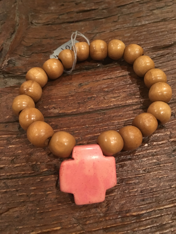 Light Pink Cross & Wood Bracelet