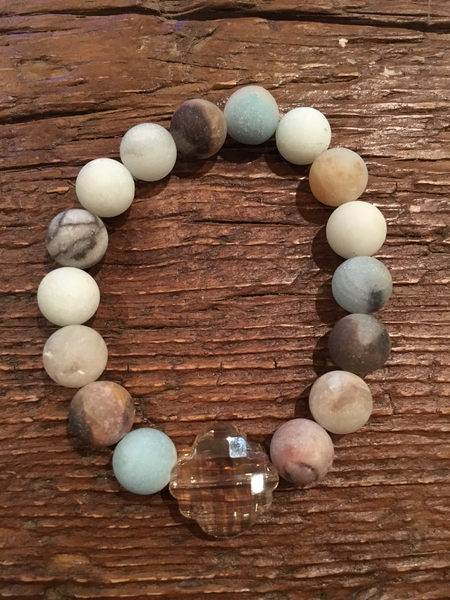 10mm Amazonite + Crystal Quatrefoil Bracelet