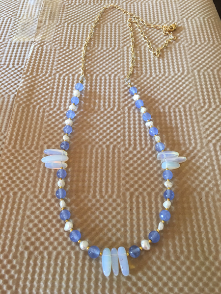 Sweet Blue + Pearl Necklace