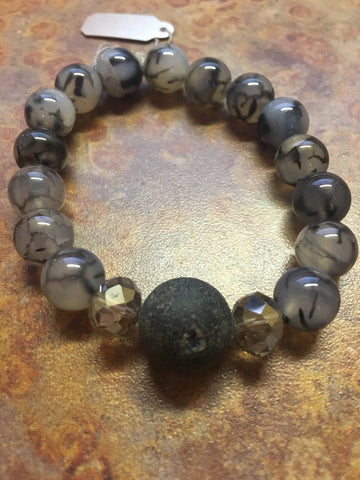 Black Druzy Dragon Agate Bracelet