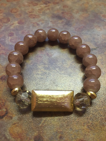 Gold Bar Bead Bracelet- Latte