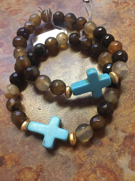 Turquoise Cross & Brown Agate Bracelet