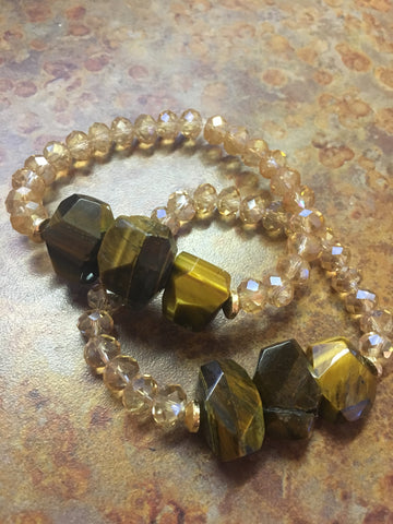 Triple Chunk Tiger Eye Crystal Bracelet