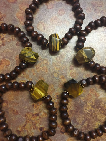 Tiger Eye Wood Bracelet- Cocoa