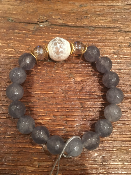 Grey Agate Bracelet framing Grey Agate & Champagne Beads
