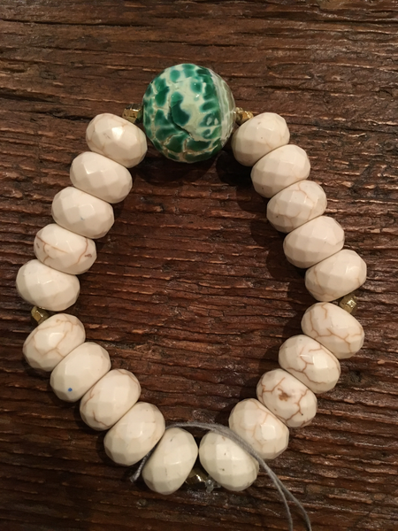 Chunky White Bracelet with Large Green Agate