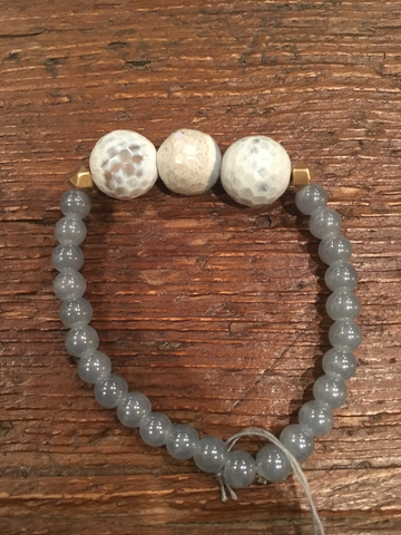 Triple White/Grey Agate & Slate Bracelet