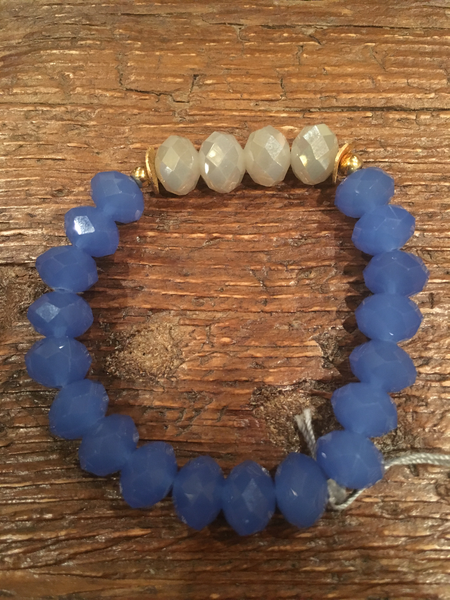 Grey Crystals Framed in Blue Bracelet