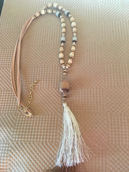 Light Neutral Cocoa Bead Tassel Necklace