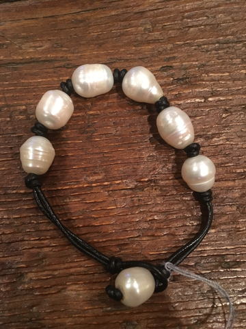 White Pearl & Black Leather Bracelet