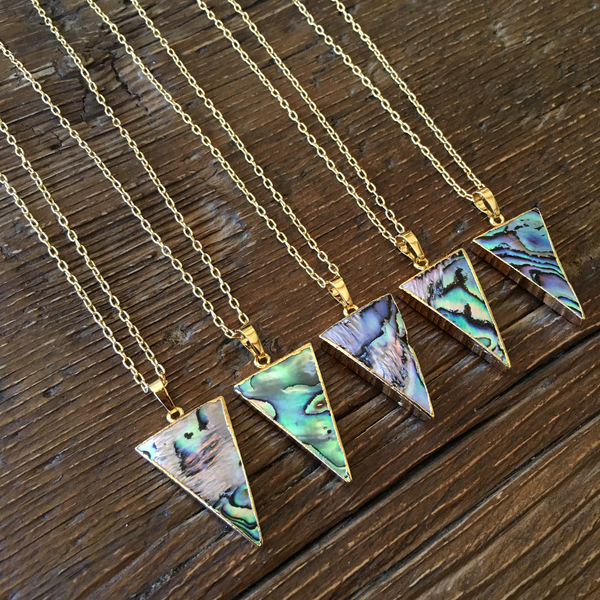 Short Mother of Pearl Triangle Necklace