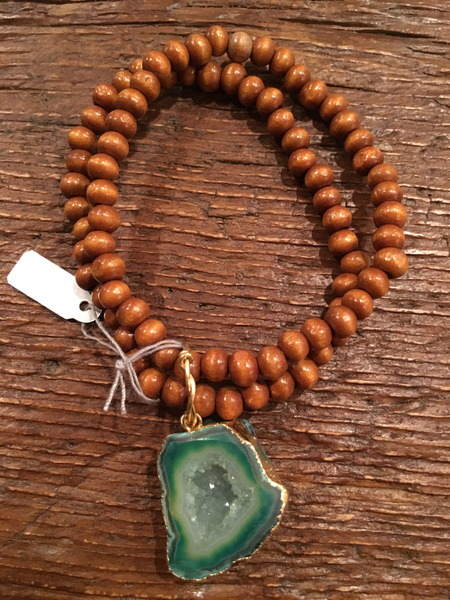 Double Stranded Wood Bracelets With Green Druzy