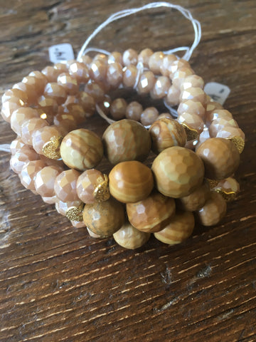 Butterscotch Crystal Bracelet with Framed Wood Agates