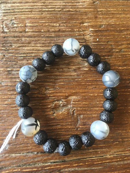 Textured Black Bracelet with Dragon Agates