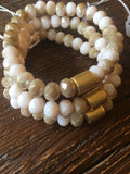Tan & Cream Crystal Barrel Bracelet