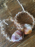 Crazy Agate Stone Pendant & Crystal Necklace