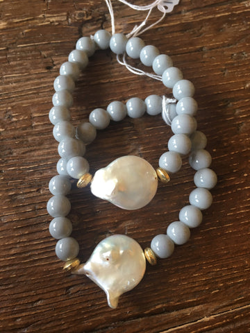Freshwater Coin Pearl Grey Bracelet