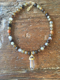 Brown Agate & Drop Quartz