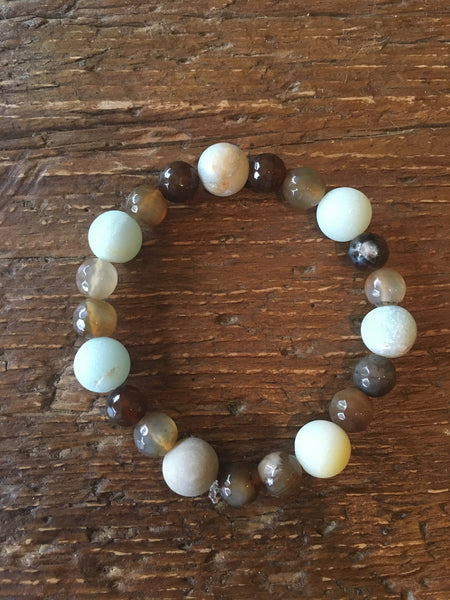 Amazonite & Brown Agate Bracelet