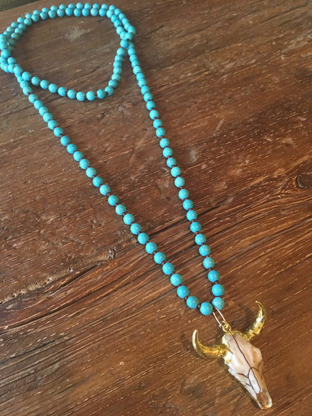 Turquoise & Steerhead Wrap Necklace
