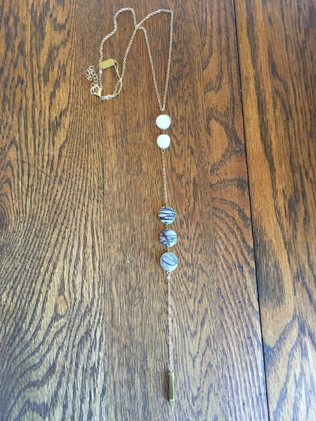 White & Striped Gray Stone Y Necklace