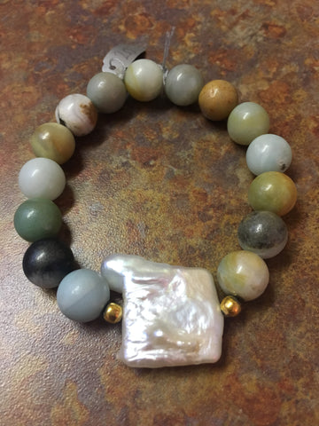 Amazonite Bracelet with Irregular Freshwater Pearl
