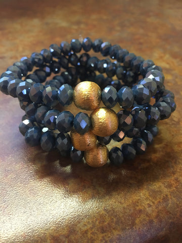 Simple Crystal Bracelet- Denim