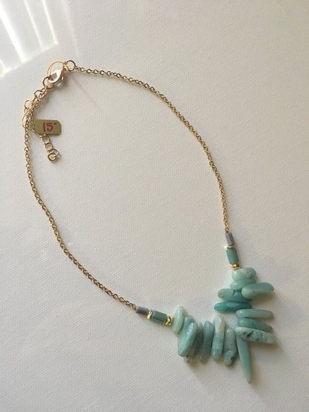 Short Amazonite Chip Necklace